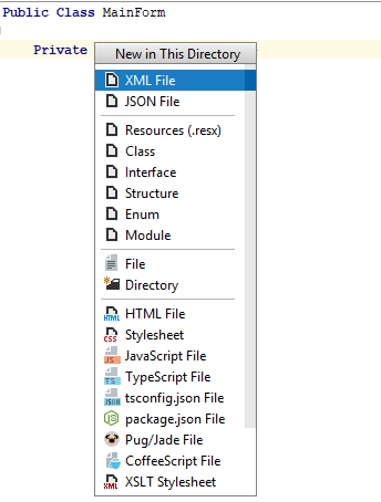 ReSharper by Language Visual Basic Create File