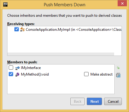 JetBrains Rider. Push Members Down refactoring