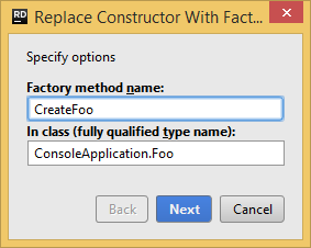 JetBrains Rider. Replace Constructor with Factory Method refactoring