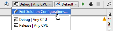 Rider: Build configuration selector on the toolbar