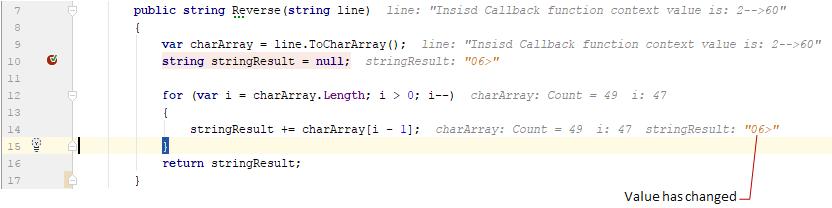 debug values inline