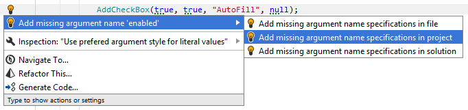 Quick fix that help you add or remove argument names