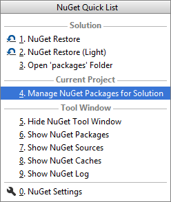 Rider: NuGet quick list