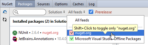 Rider: choosing NuGet package sources