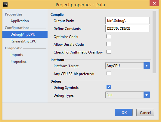 project properties config