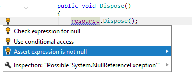 JetBrains Rider: Asserting expression for null