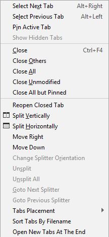 rdr context menu editor tab