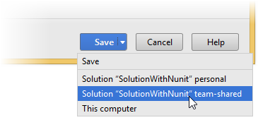 Save or Save To in JetBrains Rider options