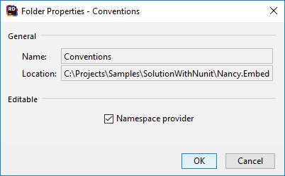 JetBrains Rider: 'Namespace provider' property of a project folder