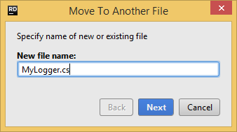 JetBrains Rider. Move to another file refactoring