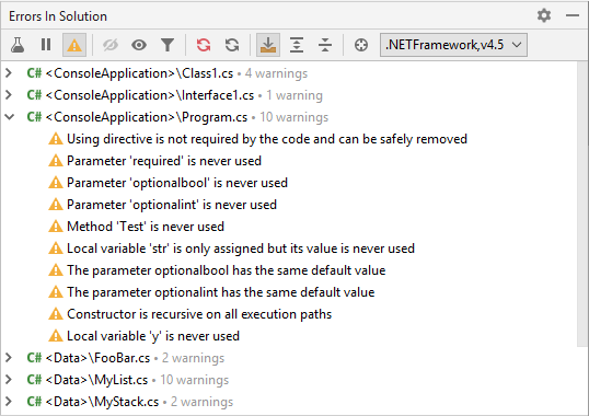 JetBrains Rider: Errors in Solution window