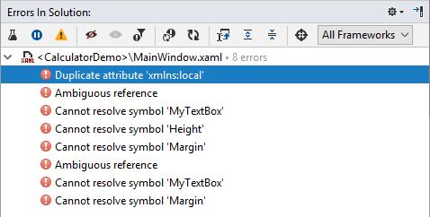 XAML Errors in Solution