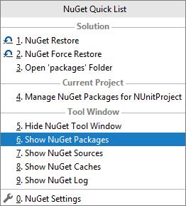 JetBrains Rider: NuGet quick list