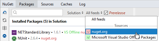 Rider: choosing NuGet package sources