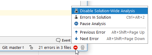 rdr solution wide analysis StatusBar