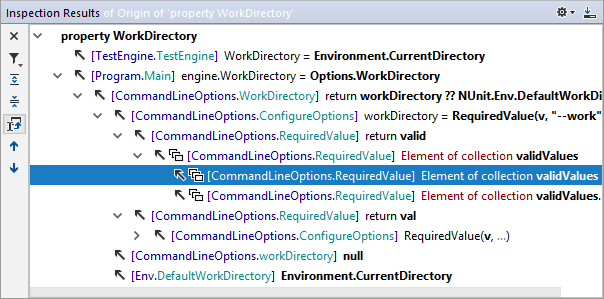 Value origin hierarchy in the Inspection Results window