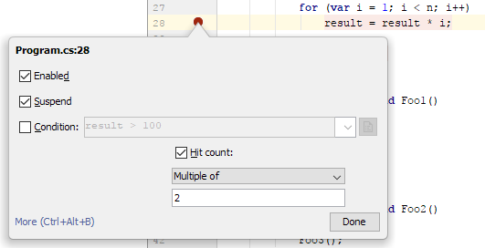 JetBrains Rider: breakpoints. hit count