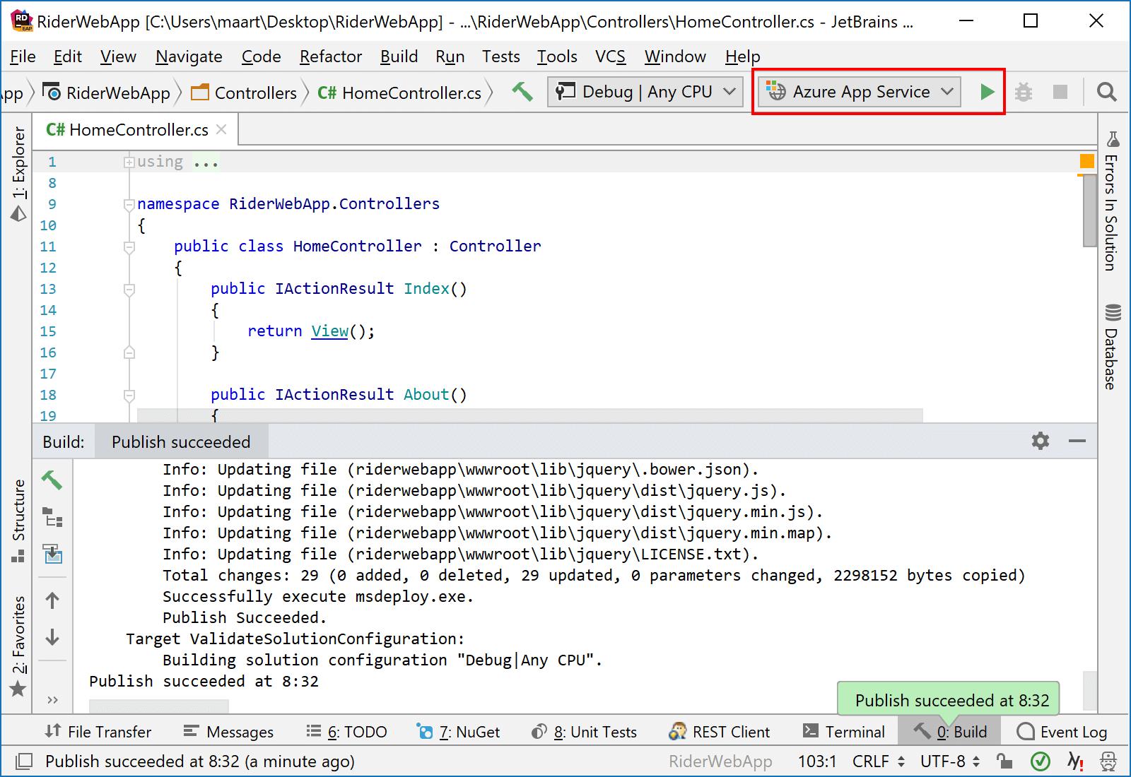 JetBrains Rider: Deploying an ASP.NET Core app