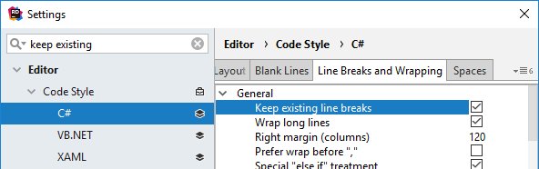 JetBrains Rider: keep existing formatting for selected rules