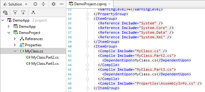 JetBrains Rider: Grouping related files using the DependentUpon element