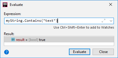 JetBrains Rider: Evaluate Expression dialog