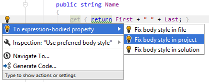 JetBrains Rider. 'To expression body' quick-fix