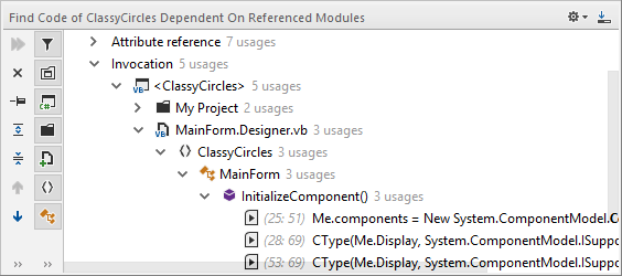 JetBrains Rider: 'Find Code Dependent on Module' in VB.NET