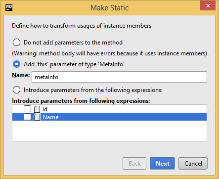 JetBrains Rider. 'Make Static' refactoring