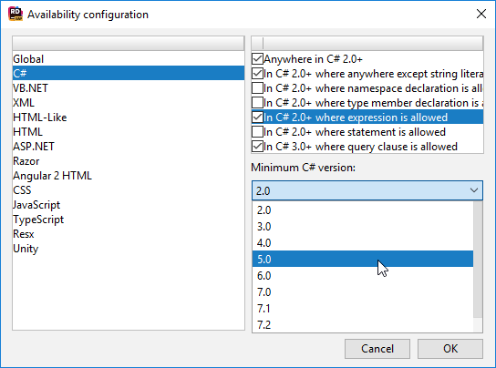 JetBrains Rider: Selecting a scope for the template