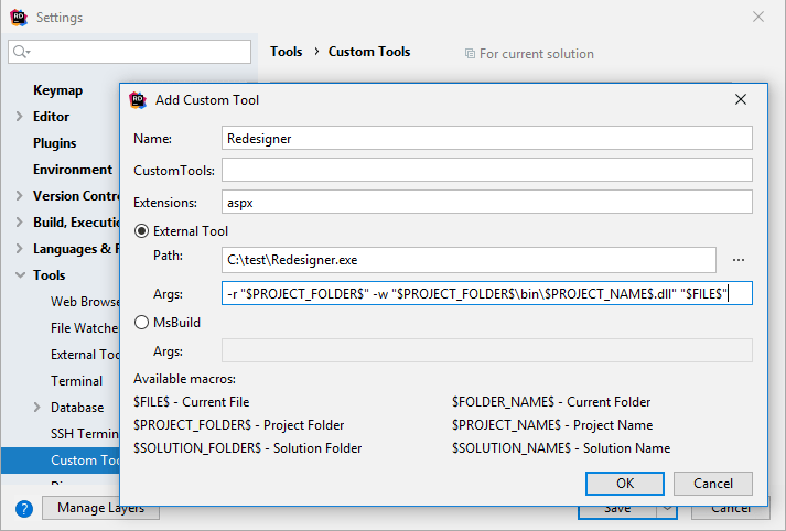 JetBrains Rider: Adding custom a tool that automatically processes specific files