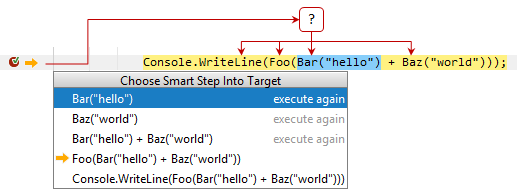 JetBrains Rider: Smart step into - stepping into selected call