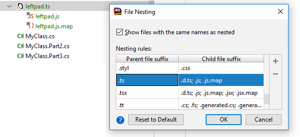 JetBrains Rider: Grouping related files using file nesting