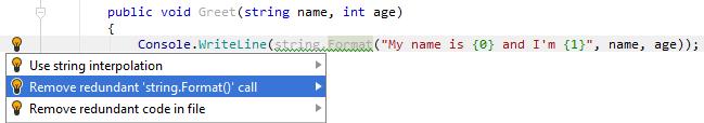 Redundant call to string formatting method