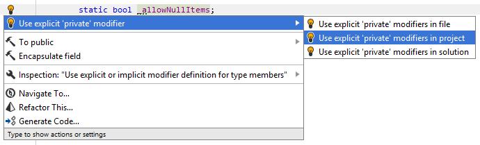 Fixing implicit private modifier