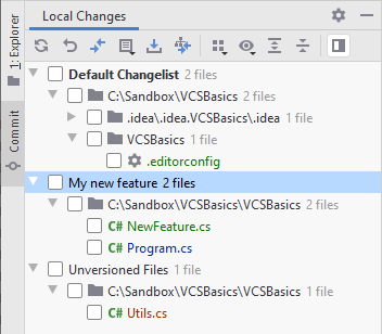 JetBrains Rider: VCS changelists