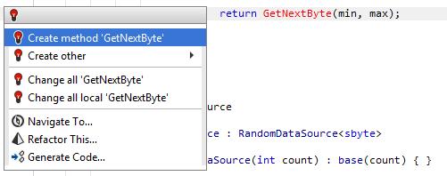 JetBrains Rider: Undefined method call quick-fix