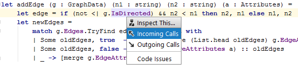 JetBrains Rider: 'Inspect This' in F#