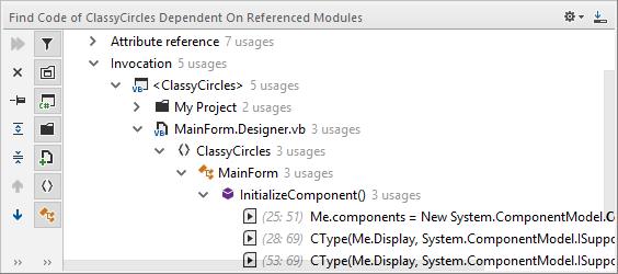 JetBrains Rider: 'Find Dependent Code' in VB.NET