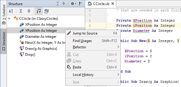 JetBrains Rider: File Structure in VB.NET