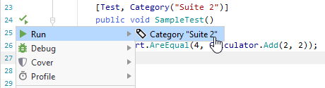 JetBrains Rider: Executing unit tests in a category