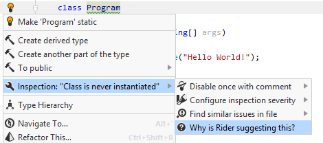 JetBrains Rider: Code inspection options in Alt+Enter menu