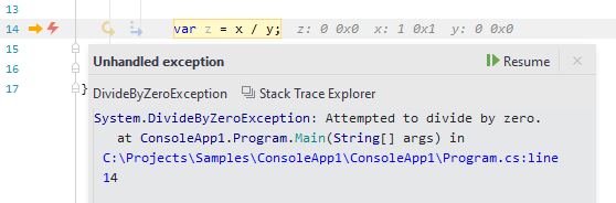 JetBrains Rider: exception stack trace