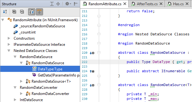 JetBrains Rider: File Structure view