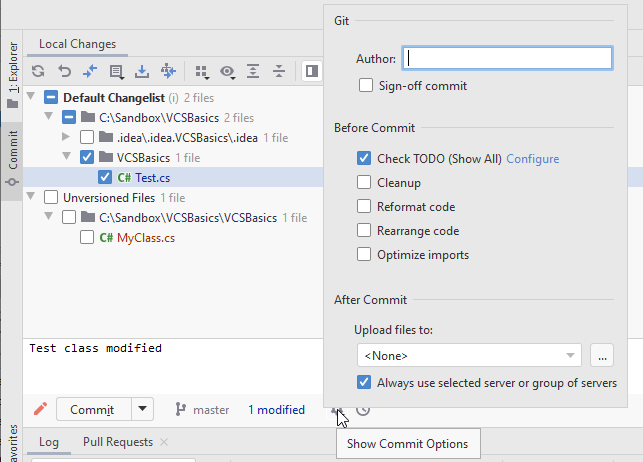 JetBrains Rider: Advanced commit options