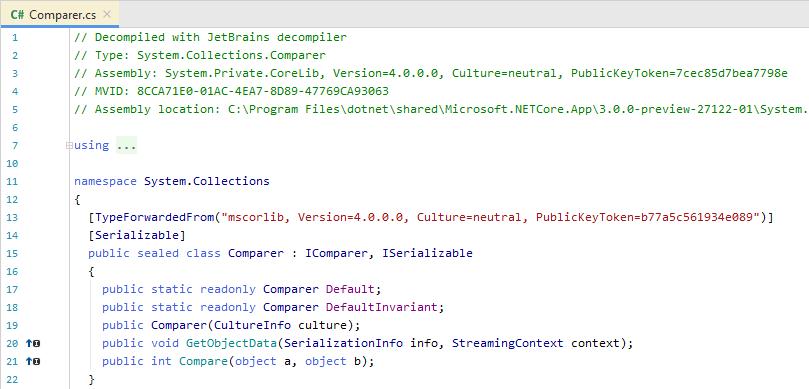 JetBrains Rider: Metadata view of a library symbol