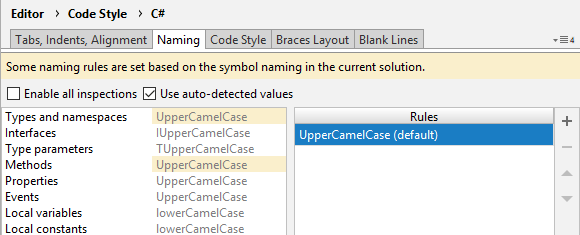 JetBrains Rider highlighting automatically-set naming rules with yellow