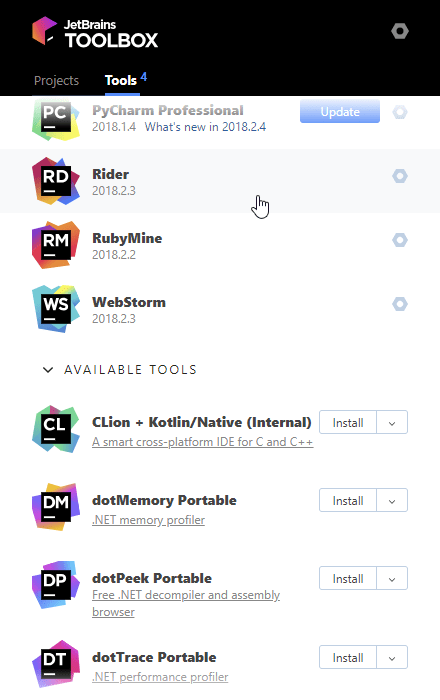 JetBrains Rider in the Toolbox app
