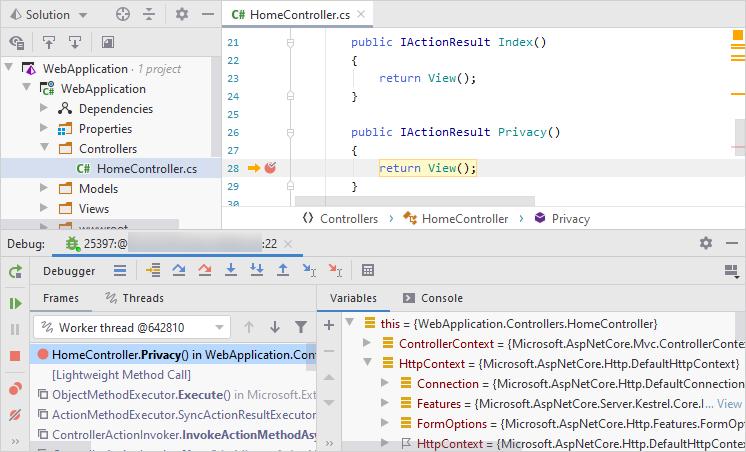 SSH remote debugging. Debugging the application