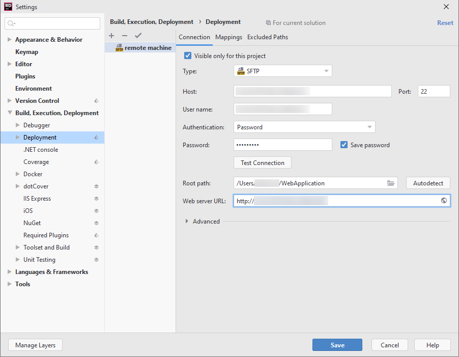 SSH remote debugging. Deployment settings