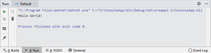 JetBrains Rider: Run tool window